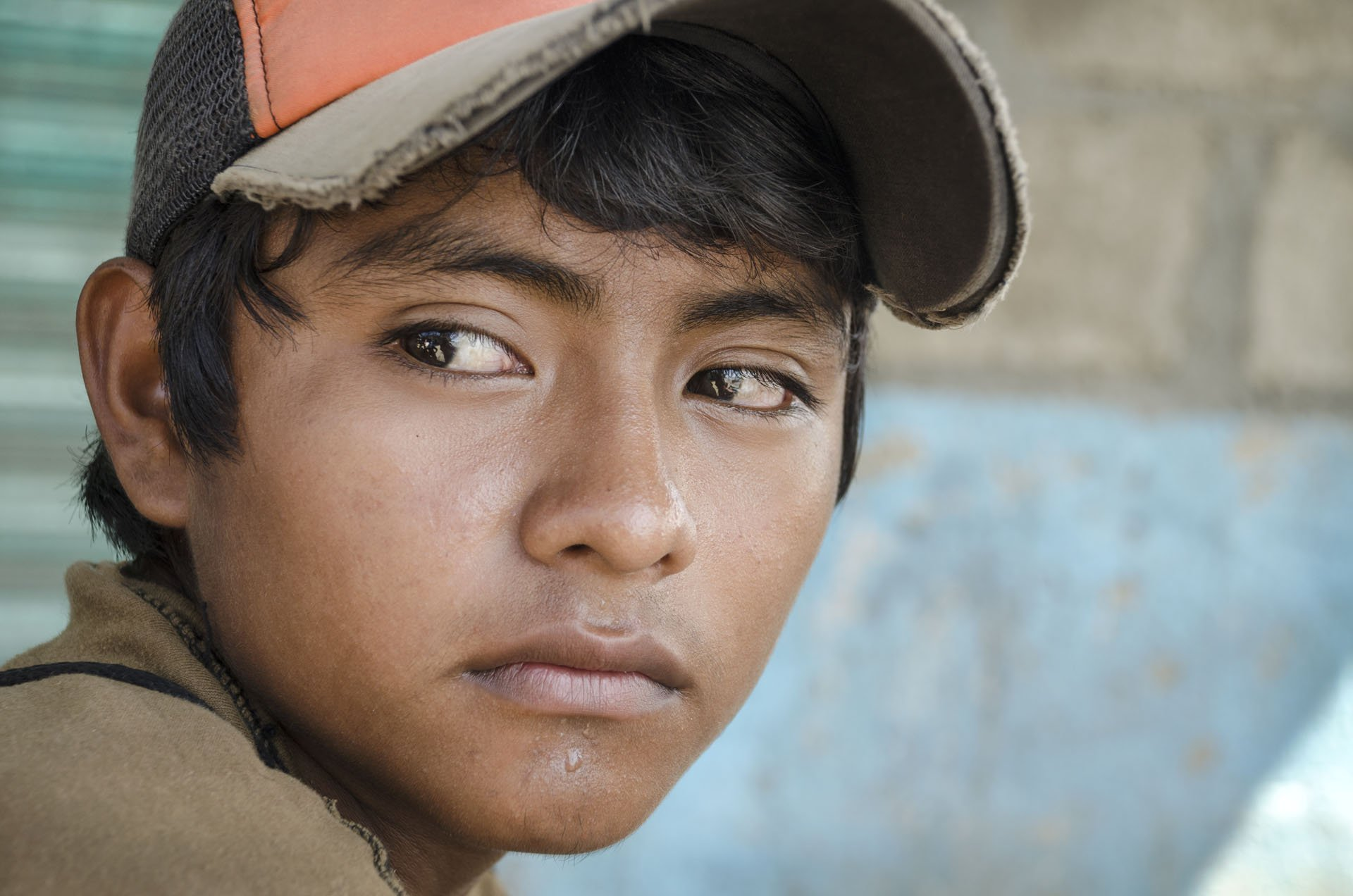 Great glance portrait from a young boy in the southern border of Mexico